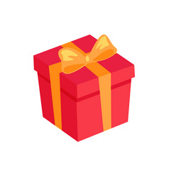 gift box icon with golden bow and ribbon isolated vector image