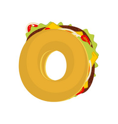 letter o tacos mexican fast food font taco vector image vector image