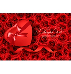 Heart-shaped gift box on rose background vector image vector image