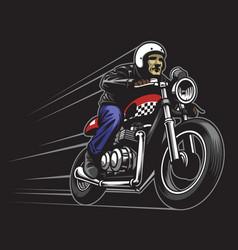 man ride a custom vintage motorcycle vector image vector image