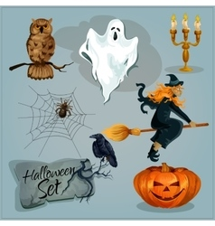 Traditional Halloween characters vector image