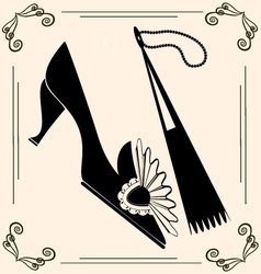 vintage shoe and fan vector image