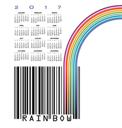 2017 UPC barcode calendar with Rainbow vector image