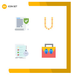 4 universal flat icon signs symbols insurance vector