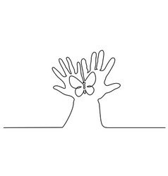 abstract hands hold butterfly continuous one line vector image