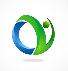abstract people fitness logo vector image