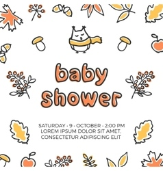 Baby shower template with cute doodle vector
