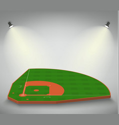 Baseball green field with white line markup vector