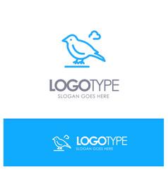 Bird british small sparrow blue outline logo vector