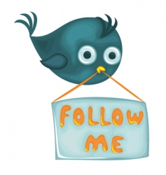 Bird with follow me sign vector