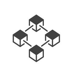 Blockchain technology dark icon or design vector