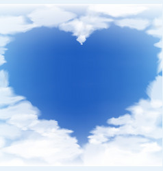 blue sky with clouds in form heart vector image