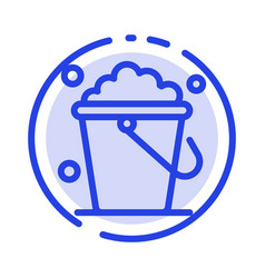 Bucket cleaning floor home blue dotted line line vector