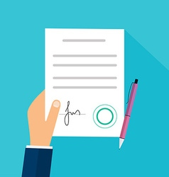 Business man hand holding contract agreement vector image
