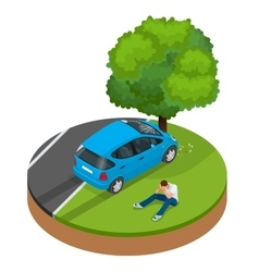 Car crashed into tree car crash collision traffic vector