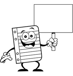 cartoon piece of notebook paper holding a sign vector image