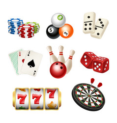 casino game icons playing cards bowling domino vector image