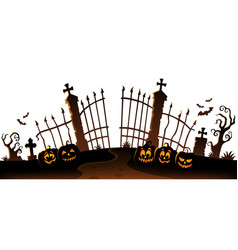 Cemetery gate silhouette theme 6 vector
