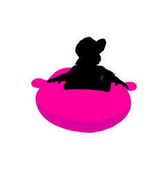 Child pretty playing silhouette vector