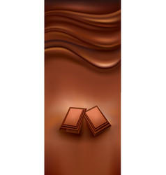 chocolate background with pieces of chocolate vector image