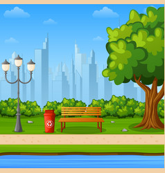 City park bench with green tree and scenery vector