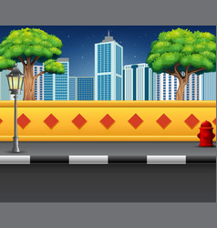 city street view with an urban background vector image