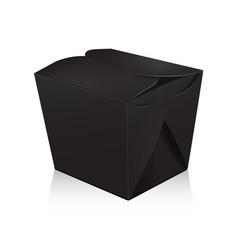 Closed black blank wok box mockup 3d vector