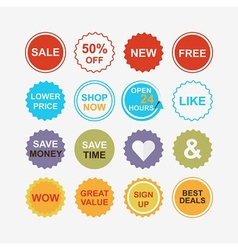 Colorful retail and shopping attention tags icons vector image
