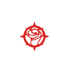 compass rose flower adventure travel logo vector image