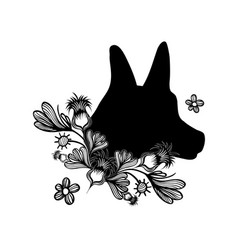 Contour dog head with natural flowers petals vector