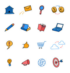 cute colored doodle icons business marketing e vector image
