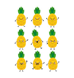cute pineapple characters set with differen vector image