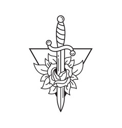 Dagger and rose tattoo template traditional vector