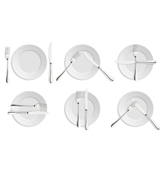 Dining etiquette forks and knifes signals vector