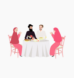 Dinner muslim ramadhan iftar woman and man enjoy vector