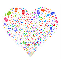 discount tag fireworks heart vector image