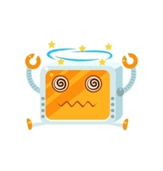 Dizzy little robot character vector