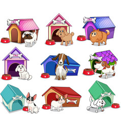 Dogs with houses vector