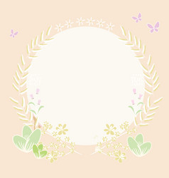 Draw circle background and plant border vector