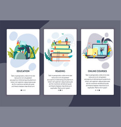 Education reading and online courses web page vector