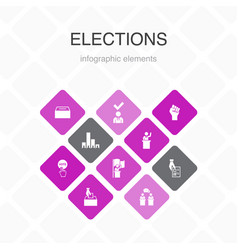 Elections infographic 10 option color design vector