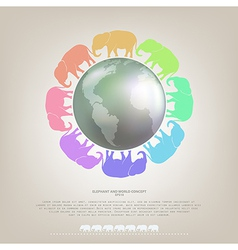Elephant walk around the world concept background vector image