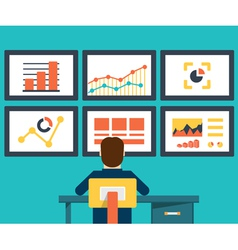 Flat of web analytics information and development vector image