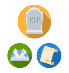 Funeral ceremony flat icons in set collection for vector