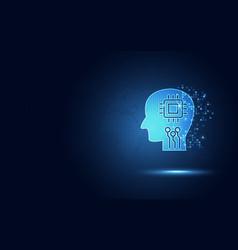 Futuristic blue human digital circuit and vector