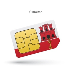 Gibraltar mobile phone sim card with flag vector