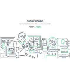 good morning - modern line design style web banner vector image