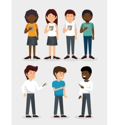 Group of people using smartphone vector
