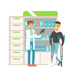 Guy on crouches in pharmacy choosing and buying vector