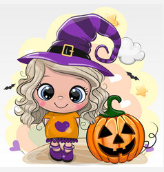 Halloween card with girl in a hat witch on a vector